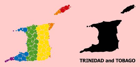 Spectrum colored collage vector map of Trinidad and Tobago for LGBT, and black version. Geographic concept map of Trinidad and Tobago is combined with scattered round spheric elements. Ilustração