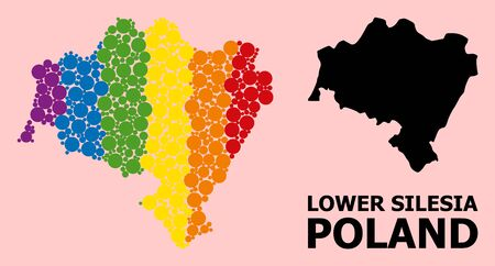 Rainbow colored mosaic vector map of Lower Silesia Province for LGBT, and black version. Geographic mosaic map of Lower Silesia Province is combined from scattered circle spots.