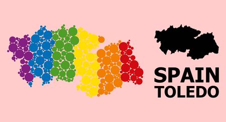 Spectrum colored mosaic vector map of Toledo Province for LGBT, and black version. Geographic mosaic map of Toledo Province is composed from scattered circle spots.