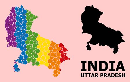Rainbow vibrant mosaic vector map of Uttar Pradesh State for LGBT, and black version. Geographic mosaic map of Uttar Pradesh State is constructed from random circle spots.