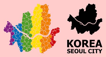 Spectrum colored mosaic vector map of Seoul Municipality for LGBT, and black version. Geographic mosaic map of Seoul Municipality is composed from random circle dots.