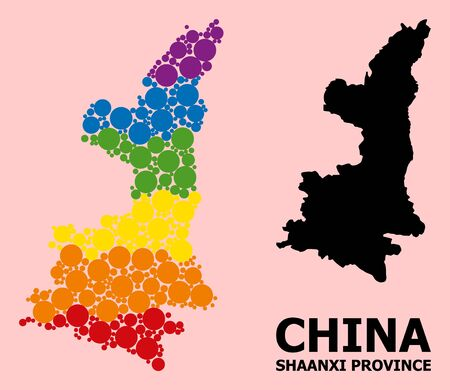 Rainbow colored collage vector map of Shaanxi Province for LGBT, and black version. Geographic concept map of Shaanxi Province is composed with random circle dots. Ilustração
