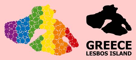 Spectrum colored collage vector map of Lesbos Island for LGBT, and black version. Geographic collage map of Lesbos Island is constructed from random circle dots.