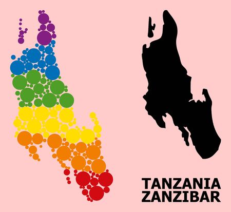 Spectrum vibrant pattern vector map of Zanzibar Island for LGBT, and black version. Geographic concept map of Zanzibar Island is done with randomized round spheric dots.