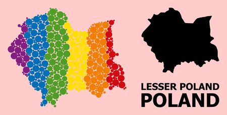 Rainbow colored collage vector map of Lesser Poland Province for LGBT, and black version. Geographic collage map of Lesser Poland Province is combined with random circle spots.