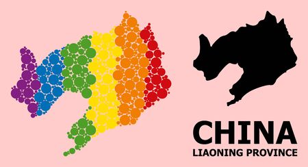 Spectrum vibrant pattern vector map of Liaoning Province for LGBT, and black version. Geographic concept map of Liaoning Province is done from scattered circle elements. Ilustração