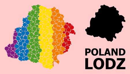 Spectrum colored collage vector map of Lodz Province for LGBT, and black version. Geographic concept map of Lodz Province is composed with scattered round spheric dots.
