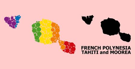 Spectrum vibrant collage vector map of Tahiti and Moorea islands for LGBT, and black version. Geographic collage map of Tahiti and Moorea islands is created from random circle spots.