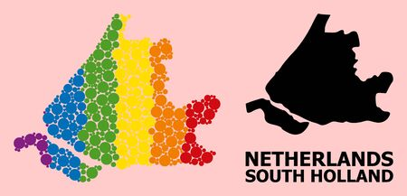 Rainbow colored collage vector map of South Holland for LGBT, and black version. Geographic collage map of South Holland is composed with scattered round spheric elements.