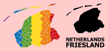 Spectrum colored mosaic vector map of Friesland Province for LGBT, and black version. Geographic concept map of Friesland Province is created from randomized round spheric elements.