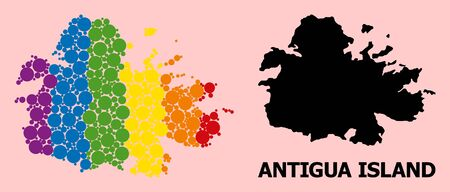Rainbow colored mosaic vector map of Antigua Island for LGBT, and black version. Geographic concept map of Antigua Island is composed with random circle dots.