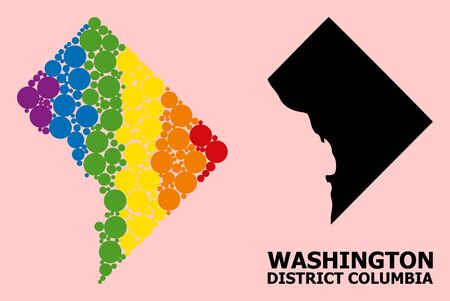 Spectrum vibrant pattern vector map of District Columbia for LGBT, and black version. Geographic concept map of District Columbia is organized from scattered round spheric dots.