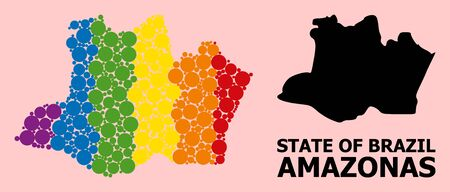 Spectrum colored collage vector map of Amazonas State for LGBT, and black version. Geographic collage map of Amazonas State is created with scattered round spheric dots.