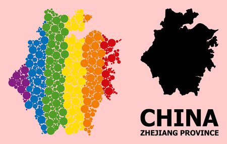 Spectrum colored pattern vector map of Zhejiang Province for LGBT, and black version. Geographic concept map of Zhejiang Province is done with random circle dots.