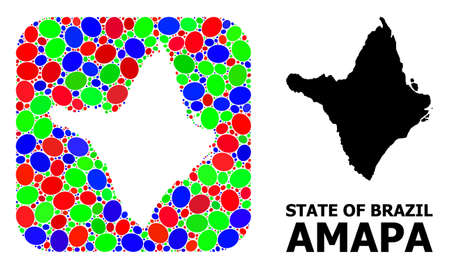 Vector mosaic and solid map of Amapa state. Bright geographic map created as subtraction from rounded square with bright elliptic elements. Ilustração