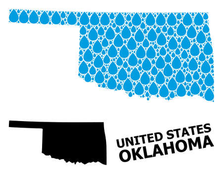 Vector mosaic and solid map of Oklahoma State. Map of Oklahoma State vector mosaic for drinking water ads. Map of Oklahoma State is created with blue drinking water dews. 일러스트