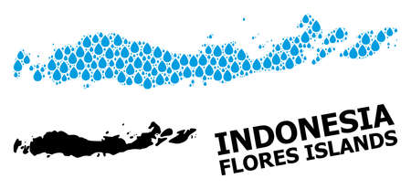 Vector mosaic and solid map of Indonesia - Flores Islands. Map of Indonesia - Flores Islands vector mosaic for pure water ads.