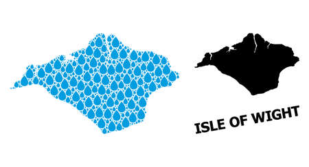 Vector mosaic and solid map of Isle of Wight. Map of Isle of Wight vector mosaic for clean water ads. Map of Isle of Wight is composed with blue clean liquid tears. Symbol for clean drinking water.