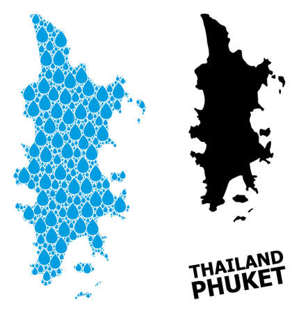 Vector mosaic and solid map of Phuket. Map of Phuket vector mosaic for pure water ads. Map of Phuket is designed with blue pure aqua tears. Symbol of pure drinking water.