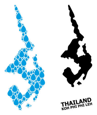 Vector mosaic and solid map of Koh Phi Leh. Map of Koh Phi Leh vector mosaic for drinking water ads. Map of Koh Phi Leh is created with blue drinking water dews. 일러스트