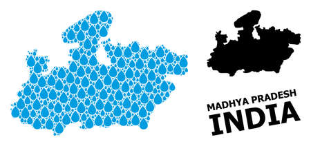 Vector mosaic and solid map of Madhya Pradesh State. Map of Madhya Pradesh State vector mosaic for clean water ads. Map of Madhya Pradesh State is created with blue drinking water tears. Illustration