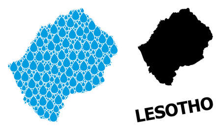 Vector mosaic and solid map of Lesotho. Map of Lesotho vector mosaic for drinking water ads. Map of Lesotho is created with blue drinking water drops. Symbol of clean drinking water.