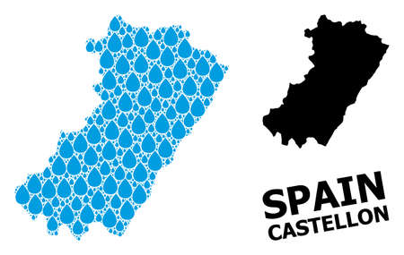 Vector mosaic and solid map of Castellon Province. Map of Castellon Province vector mosaic for clean water ads. Map of Castellon Province is created with blue clean aqua dews.