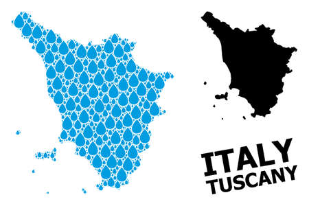 Vector mosaic and solid map of Tuscany region. Map of Tuscany region vector mosaic for clean water ads. Map of Tuscany region is composed with blue clean water drops. Symbol for clean drinking water.