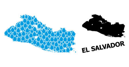 Vector mosaic and solid map of El Salvador. Map of El Salvador vector mosaic for drinking water ads. Map of El Salvador is created with blue clear water drops. Symbol of clear drinking water.