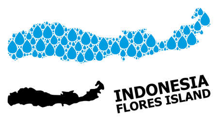 Vector mosaic and solid map of Indonesia - Flores Island. Map of Indonesia - Flores Island vector mosaic for drinking water ads.