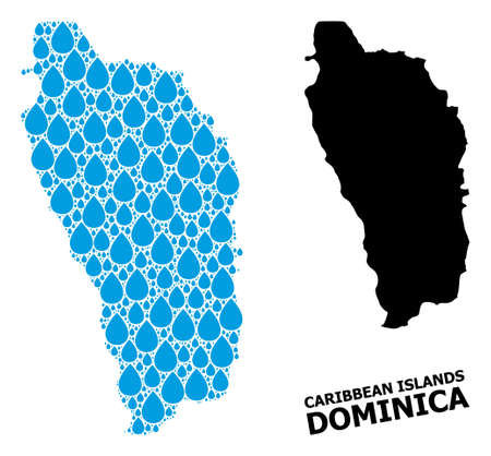 Vector mosaic and solid map of Dominica Island. Map of Dominica Island vector mosaic for clean water ads. Map of Dominica Island is formed with blue drinking water drops.