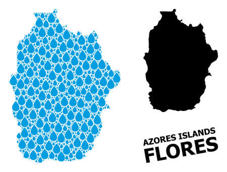 Vector mosaic and solid map of Azores - Flores Island. Map of Azores - Flores Island vector mosaic for clean water ads. Map of Azores - Flores Island is designed with blue clean water raindrops.