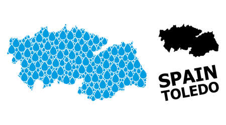 Vector mosaic and solid map of Toledo Province. Map of Toledo Province vector mosaic for drinking water ads. Map of Toledo Province is designed with blue clear water tears. Illustration