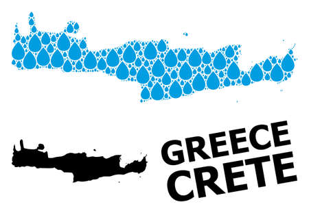 Vector mosaic and solid map of Crete Island. Map of Crete Island vector mosaic for clean water ads. Map of Crete Island is formed with blue drinking water raindrops. Symbol for natural drinking water.