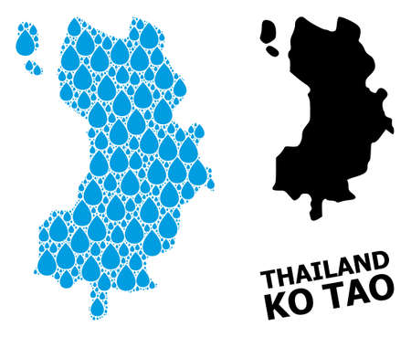 Vector mosaic and solid map of Ko Tao. Map of Ko Tao vector mosaic for drinking water ads. Map of Ko Tao is created with blue drinking liquid tears. Symbol for clean drinking water.