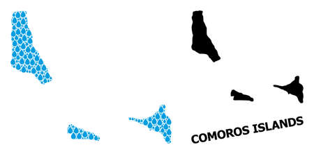 Vector mosaic and solid map of Comoros Islands. Map of Comoros Islands vector mosaic for pure water ads. Map of Comoros Islands is created with blue clean liquid dews. Symbol for pure drinking water. 일러스트