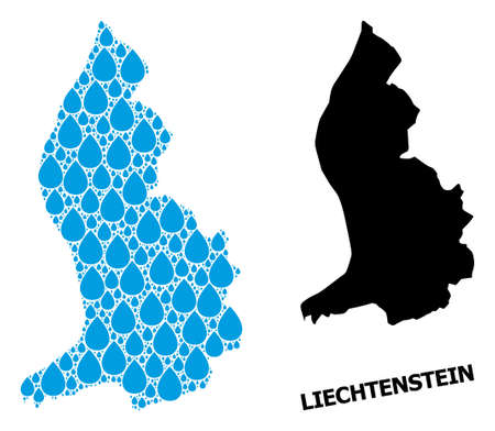 Vector mosaic and solid map of Liechtenstein. Map of Liechtenstein vector mosaic for drinking water ads. Map of Liechtenstein is designed from blue drinking water dews.
