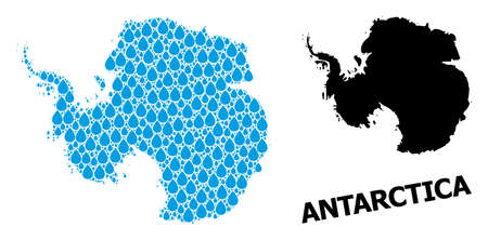 Vector mosaic and solid map of Antarctica. Map of Antarctica vector mosaic for drinking water ads. Map of Antarctica is formed with blue clean liquid drops. Symbol for clean drinking water.