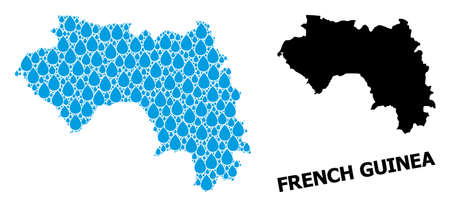 Vector mosaic and solid map of French Guinea. Map of French Guinea vector mosaic for clean water ads. Map of French Guinea is designed with blue clean water tears. Symbol for clean drinking water. 일러스트
