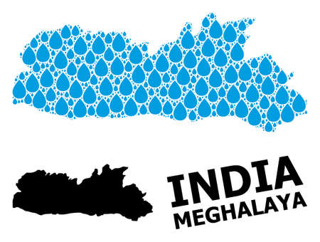 Vector mosaic and solid map of Meghalaya State. Map of Meghalaya State vector mosaic for clean water ads. Map of Meghalaya State is created with blue clean aqua tears. Symbol of clean drinking water. 일러스트