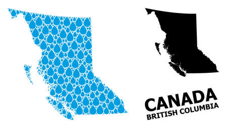 Vector mosaic and solid map of British Columbia Province. Map of British Columbia Province vector mosaic for pure water ads.