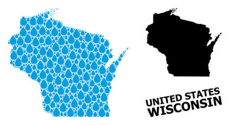 Vector mosaic and solid map of Wisconsin State. Map of Wisconsin State vector mosaic for clean water ads. Map of Wisconsin State is formed with blue clean aqua tears. Symbol of pure drinking water.