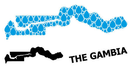 Vector mosaic and solid map of the Gambia. Map of the Gambia vector mosaic for clean water ads. Map of the Gambia is composed with blue clean liquid raindrops. Symbol of clean drinking water.