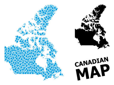 Vector mosaic and solid map of Canada. Map of Canada vector mosaic for drinking water ads. Map of Canada is composed with blue clean water raindrops. Symbol for clear drinking water.