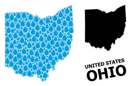 Vector mosaic and solid map of Ohio State. Map of Ohio State vector mosaic for drinking water ads. Map of Ohio State is created with blue drinking aqua drops. Symbol for clean drinking water. Ilustracja