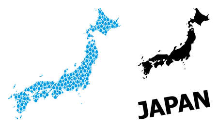 Vector mosaic and solid map of Japan. Map of Japan vector mosaic for clean water ads. Map of Japan is created with blue clean water raindrops. Symbol of clean drinking water.