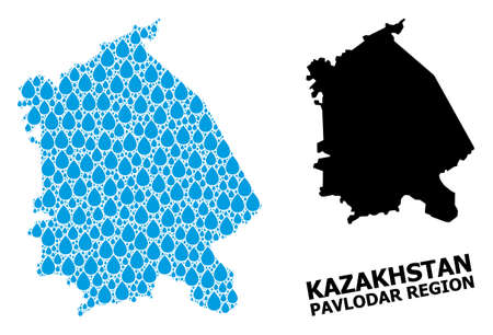 Vector mosaic and solid map of Pavlodar Region. Map of Pavlodar Region vector mosaic for pure water ads. Map of Pavlodar Region is formed from blue drinking water tears.