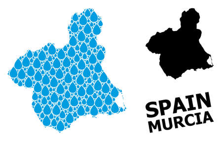 Vector mosaic and solid map of Murcia Province. Map of Murcia Province vector mosaic for pure water ads. Map of Murcia Province is composed with blue drinking water drops.