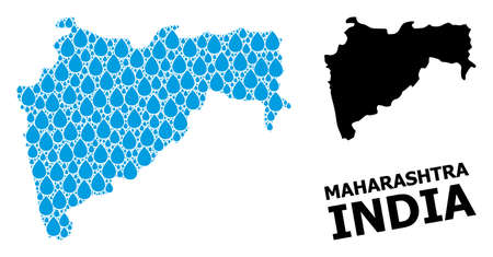 Vector mosaic and solid map of Maharashtra State. Map of Maharashtra State vector mosaic for drinking water ads. Map of Maharashtra State is formed with blue drinking liquid tears. Banco de Imagens - 153792795