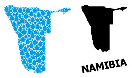 Vector mosaic and solid map of Namibia. Map of Namibia vector mosaic for clean water ads. Map of Namibia is designed with blue drinking water tears. Symbol of clean drinking water.